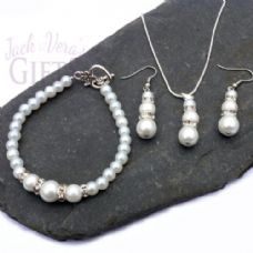 White Glass Pearl Necklace, Bracelet & Earring Set